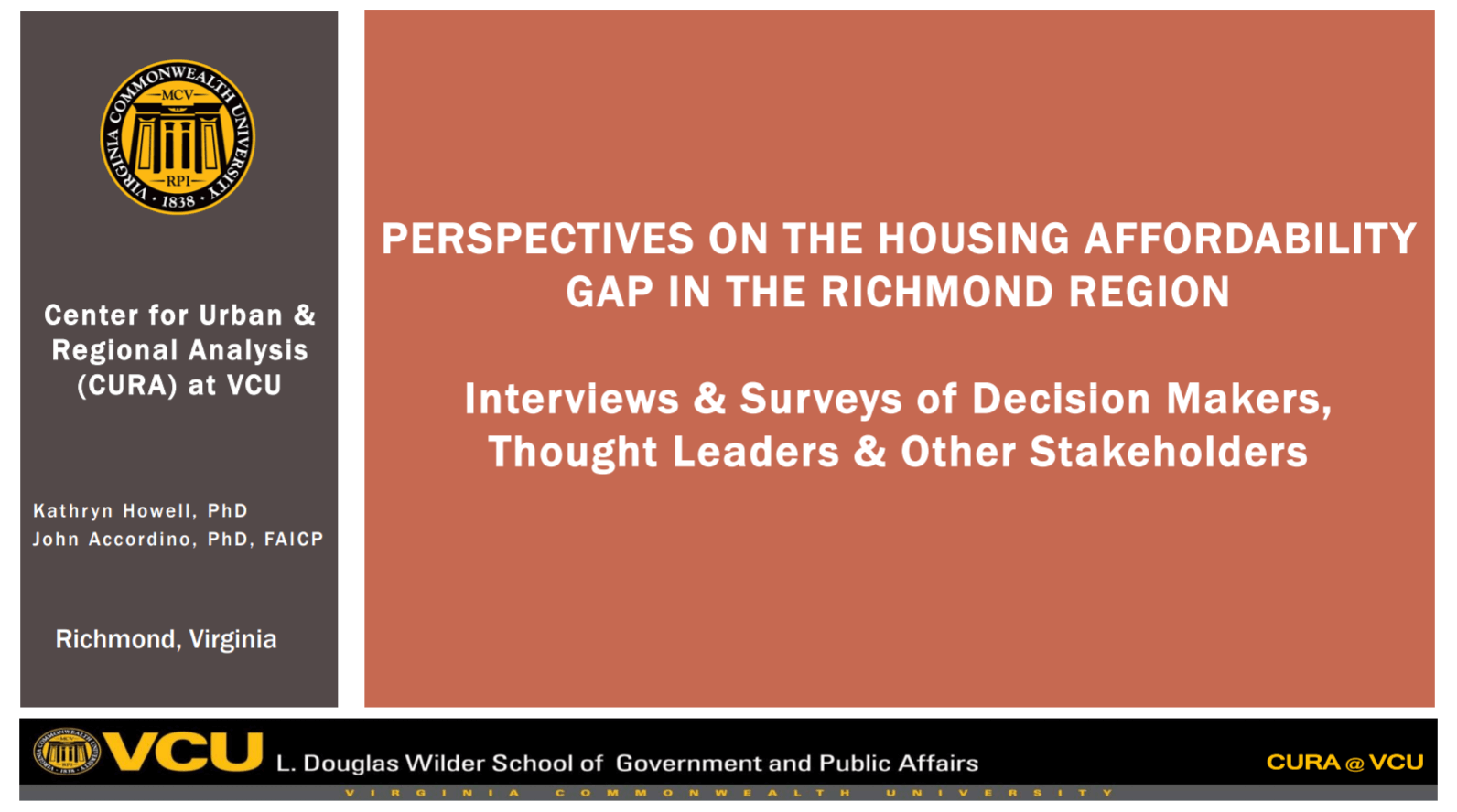 VCU Presentation: Perspectives on the Housing Affordability Gap in the Richmond Region
