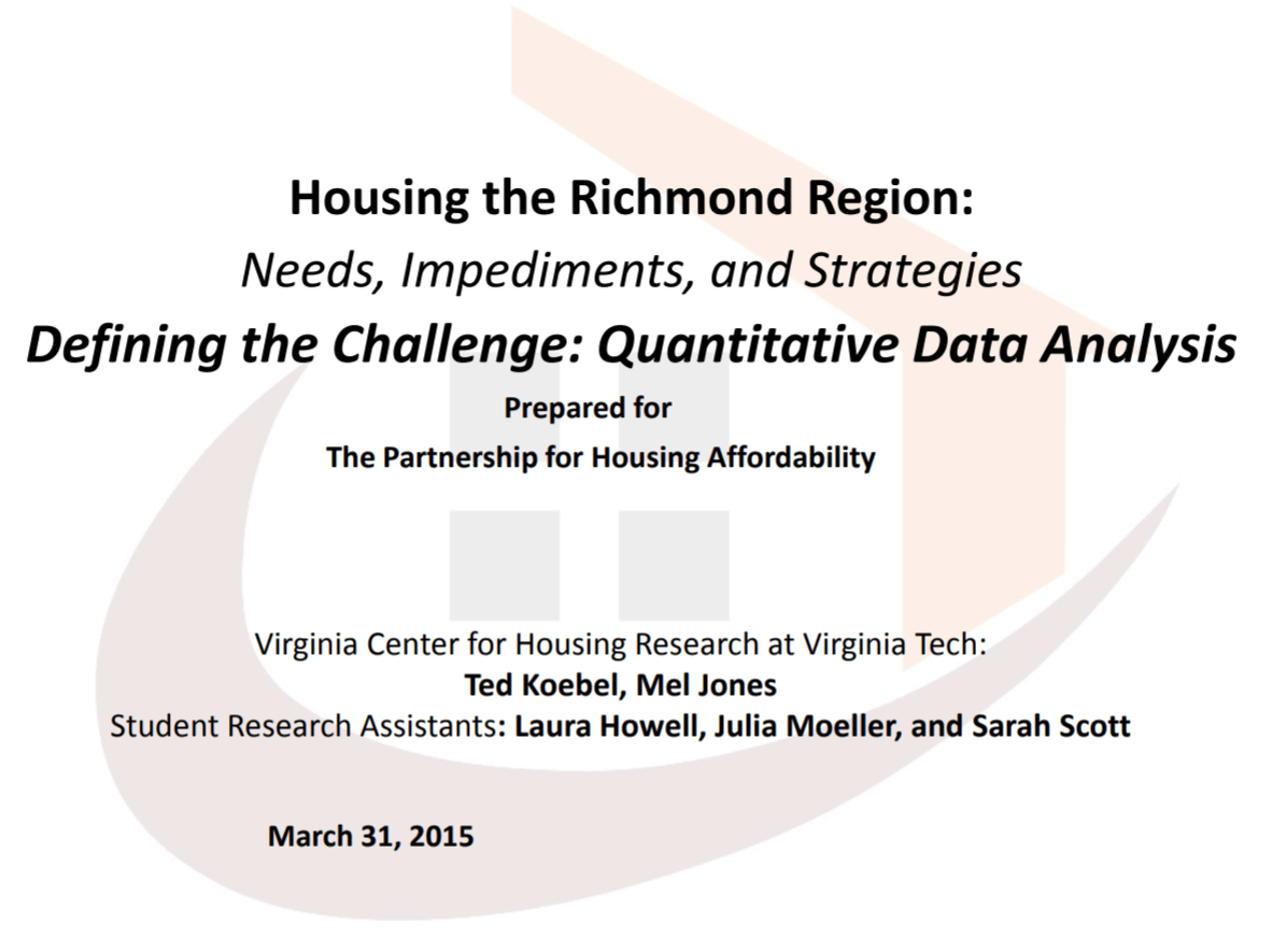 Virginia Tech Presentation: Housing the Richmond Region